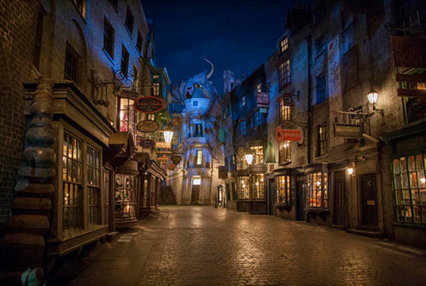 ORLANDO, FL - JUNE 18: In this handout photo provided by Universal Orlando Resort and taken June 13, 2014, today June 18, Universal Orlando announced that The Wizarding World of Harry Potter's Diagon Alley will officially open on July 8, allowing guests to experience even more of Harry Potter's adventures in an all-new, magnificently-themed environment. Located in the Universal Studios Florida theme park, The Wizarding World of Harry Potter - Diagon Alley will feature shops, dining experiences and the next generation thrill ride, Harry Potter and the Escape from Gringotts. The new immersive area will double the size of the sweeping land already found at Universal's Islands of Adventure, expanding the spectacularly themed environment across both Universal theme parks and guests can journey between both lands aboard the Hogwarts Express. For additional information, visit www.UniversalOrlando.com/WizardingWorld. (Photo by Ken Kinzie/Universal Orlando Resort via Getty Images)