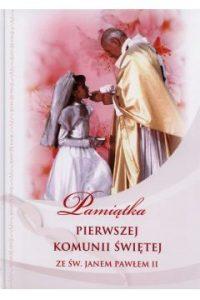 Pamiątka Pierwszej Komunii Świętej ze św. Janem Pawłem II - dla dziewczynki
