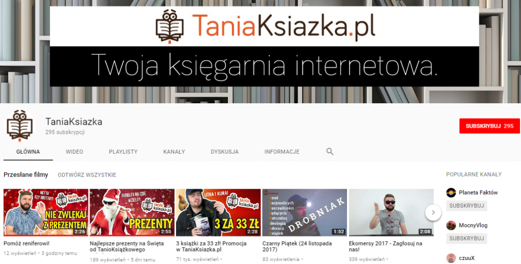 TaniaKsiazka.pl - kanał YT