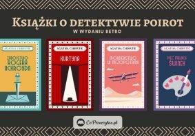 Książki o detektywie Poirot w wydaniu retro